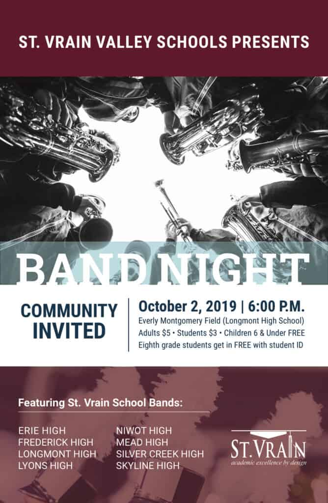 A poster advertising St. Vrain Band Night. Picture of instruments with the same information included in this article.