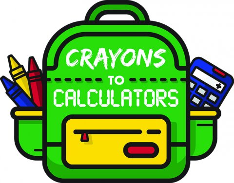 Logo for Crayons to Calculators. Green cartoon backpack with crayons and calculators sticking out of the pouches.
