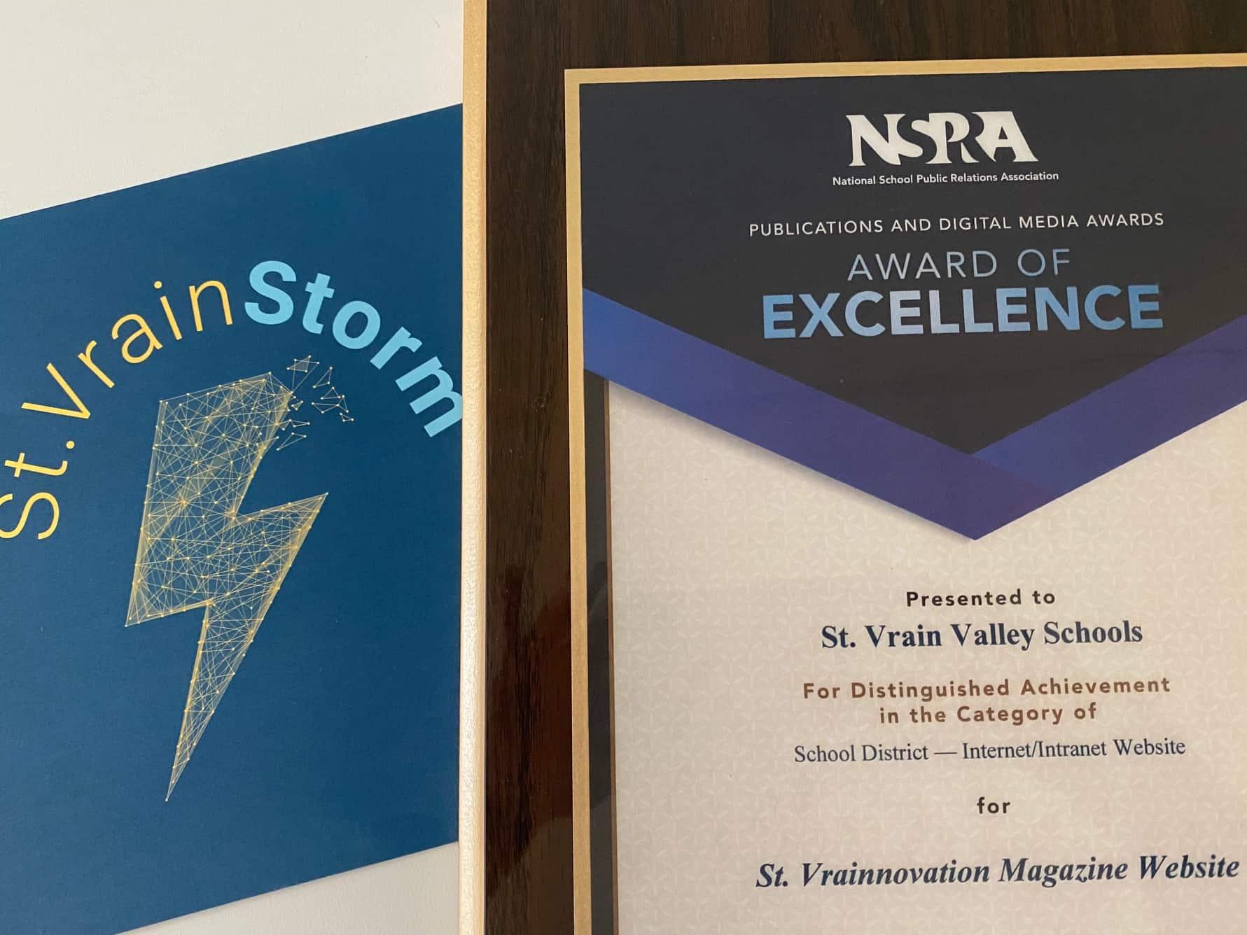 NSPRA Award next to a StVrainStorm sign