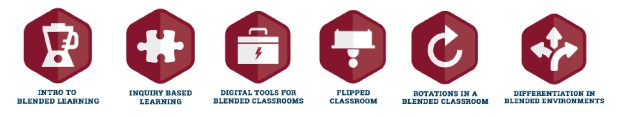 Visual of the six available badgets, including intro to blended learning, inquiry-based learning, digital tools for blended classrooms, flipped classroom, rotation in a blended classroom, and differentiation in blended environments.