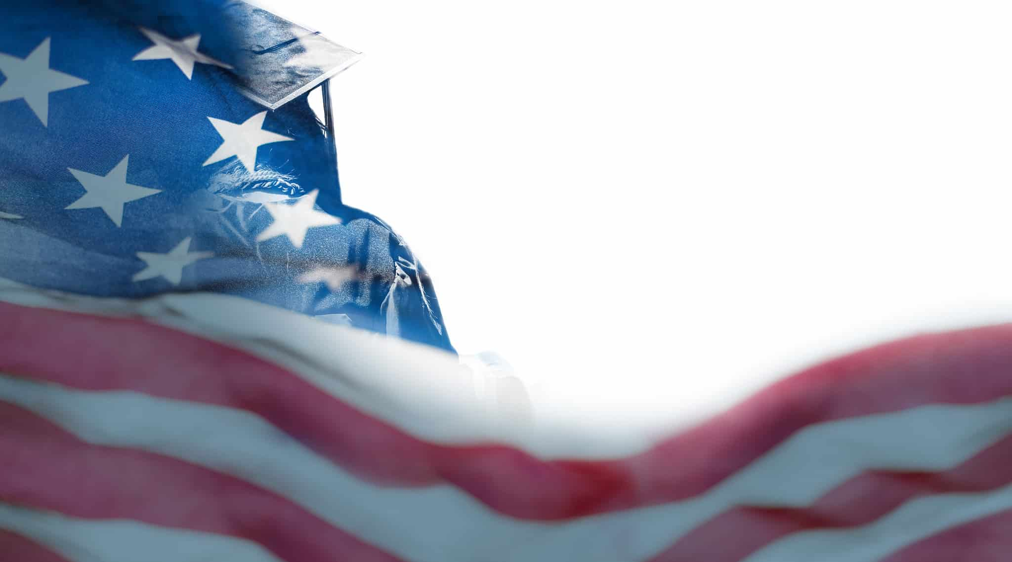 graduate with an American Flag overlay