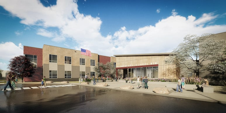 Building rendering of Elementary 28 with students outside gathering and blue sky overhead
