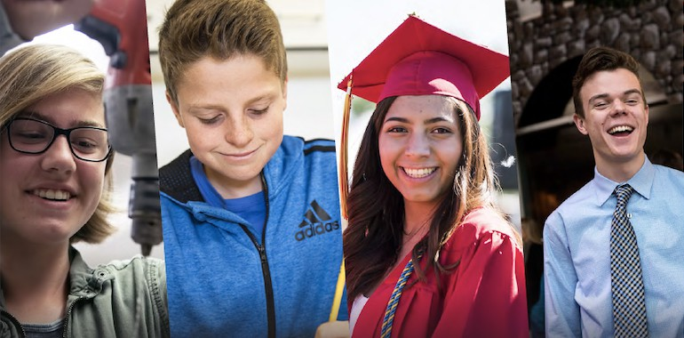 A collage of four students: a female in shop class, a male writing, a female graduating, and a male in a tie smiling