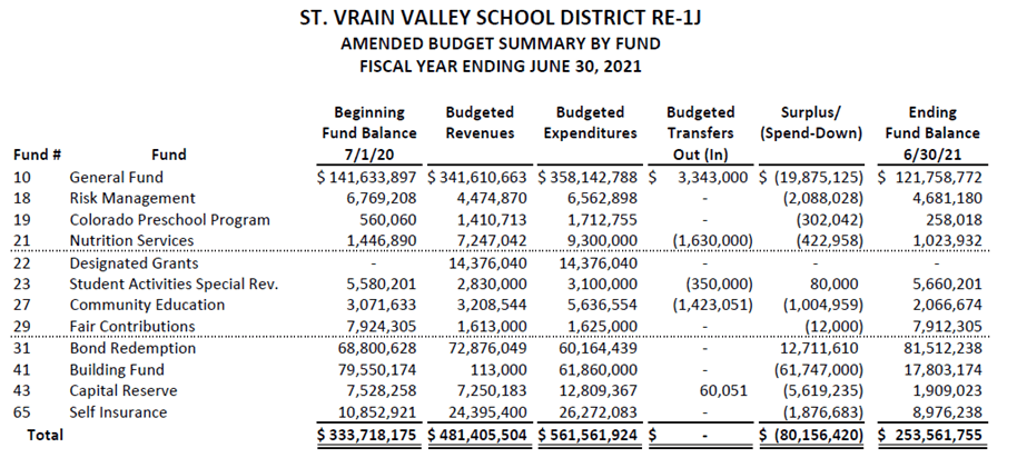 Amended Budget Summary By Fund FY21