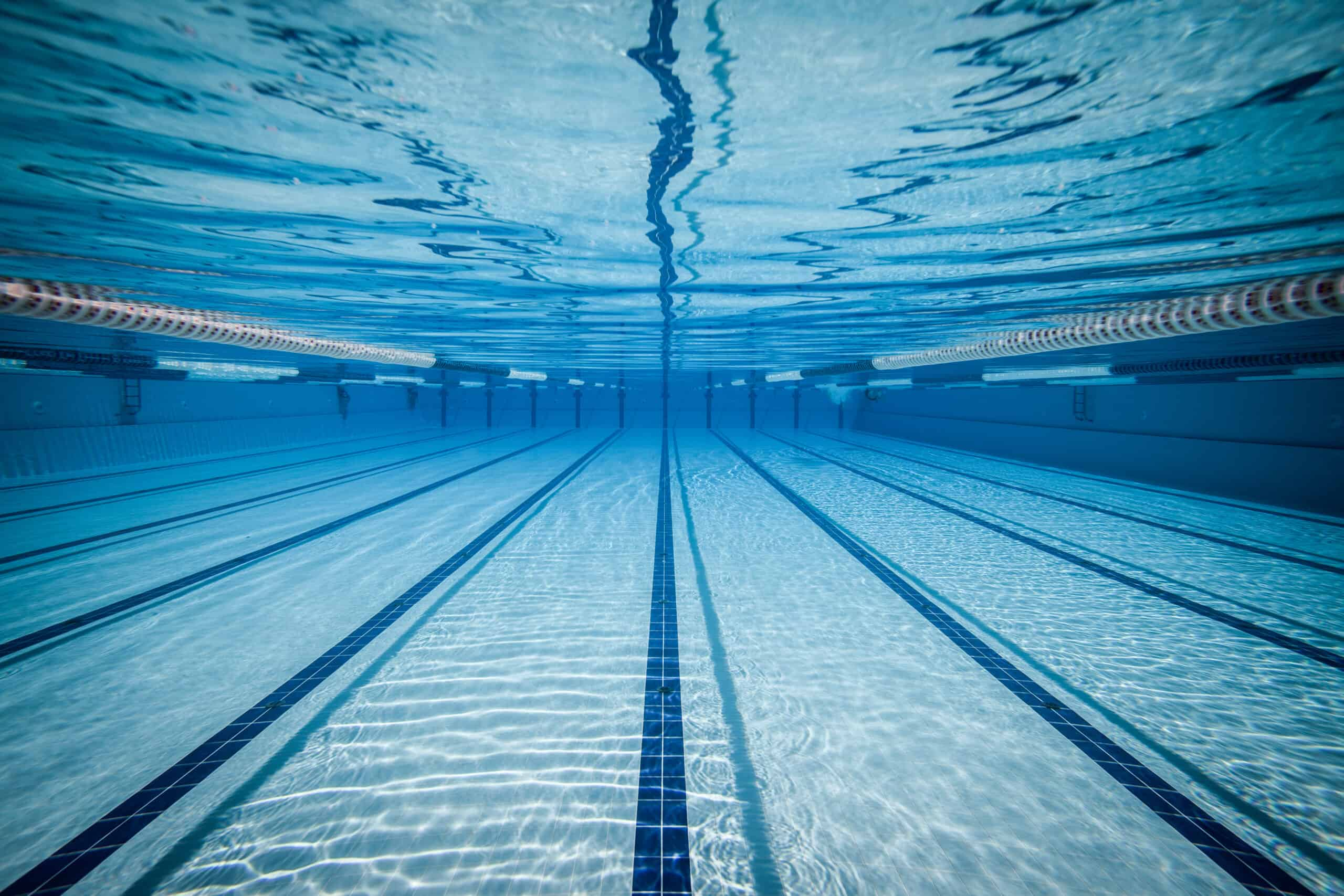 Underwater image of swimming pool with lap lanes