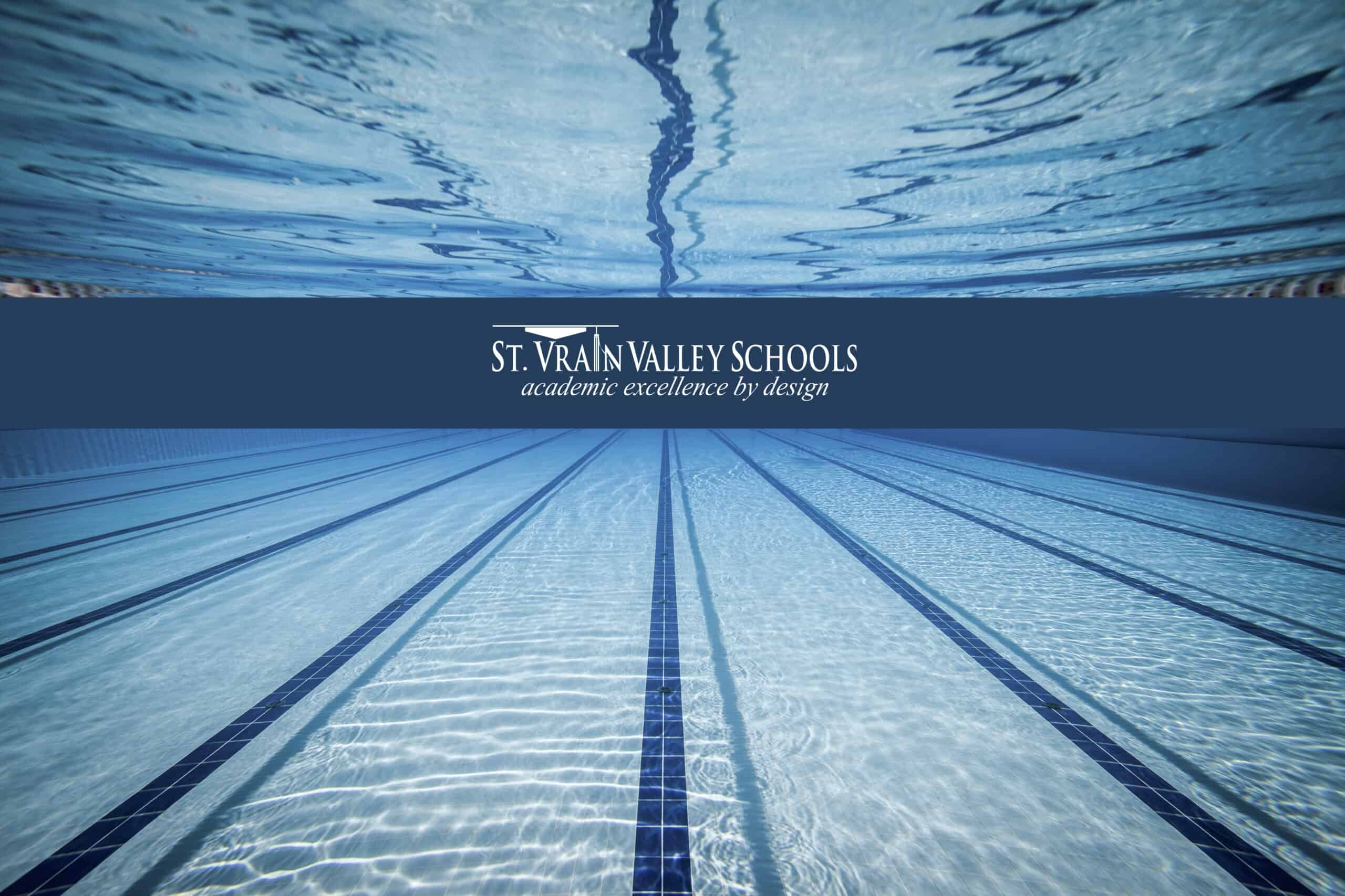Underwater image of swimming pool featuring lap lanes and St. Vrain Valley Schools' Logo