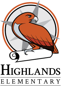 A logo with an orange hawk with dark orange and black feathers has one foot on a scroll, in front of compass seal. Text underneath says Highlands Elementary.