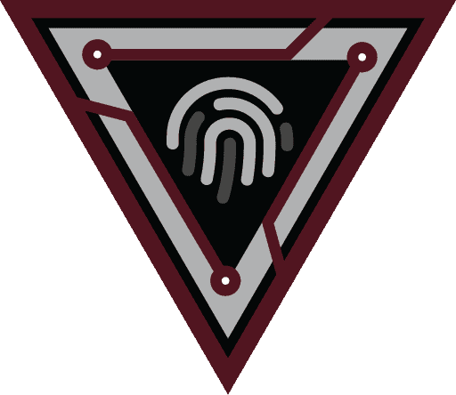 Logo for RaptorTech with digital fingerprint within triangle