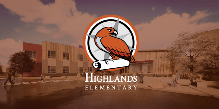 Highlands logo and building rendering
